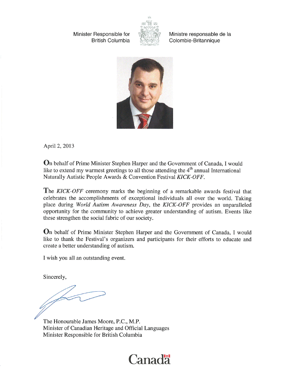 2013 James Moore Kick Off letter