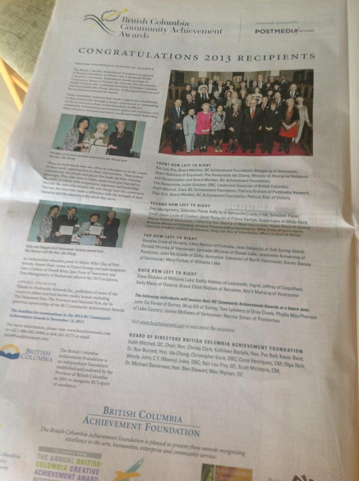 Vancouver Sun article about 2013 recipients for the BC Community Achievement Award held at Government House with Lieutenant Governor
